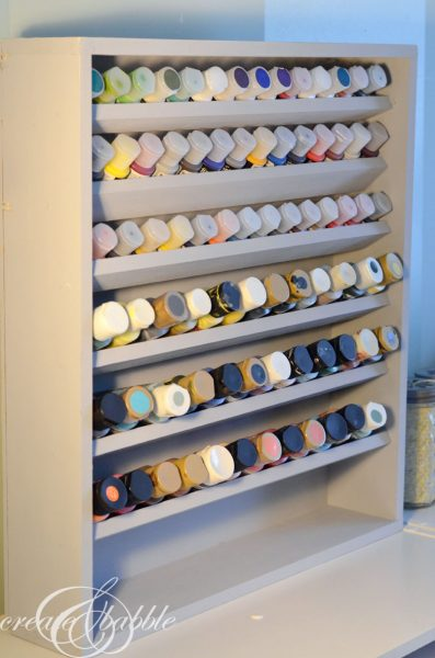 craft paint storage shelf - Create and Babble via @Remodelaholic