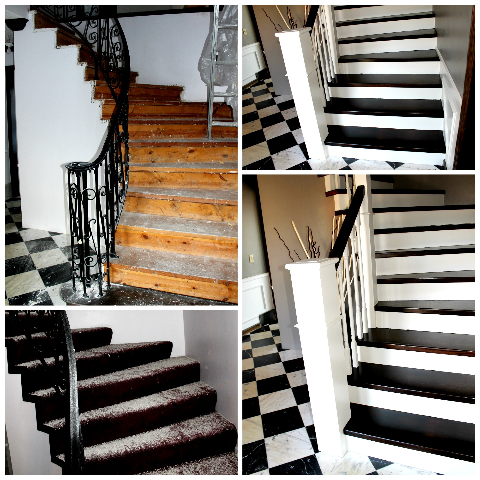 Curved Staircase Remodel With New Handrail