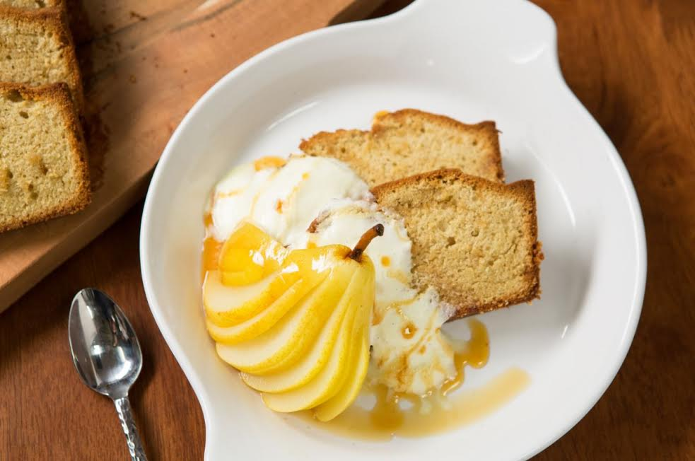 Brown Butter Cake with Poached Pears