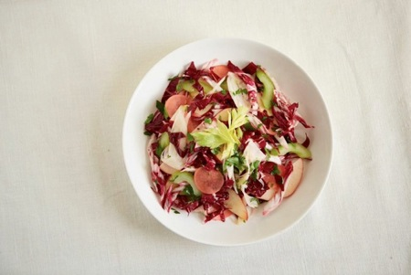 Shaved Fall Vegetable Salad with Tea-Pickled Radishes