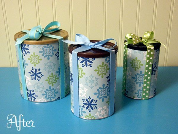 gift wrapped canisters