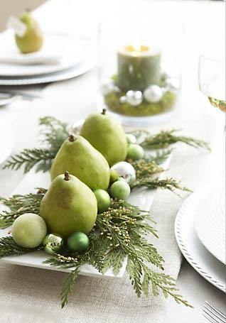 holiday decor food pear centerpiece