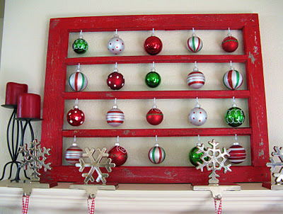 holiday decor window ornament display