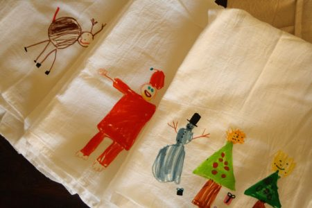 holiday gift idea - kid decorated tea towels