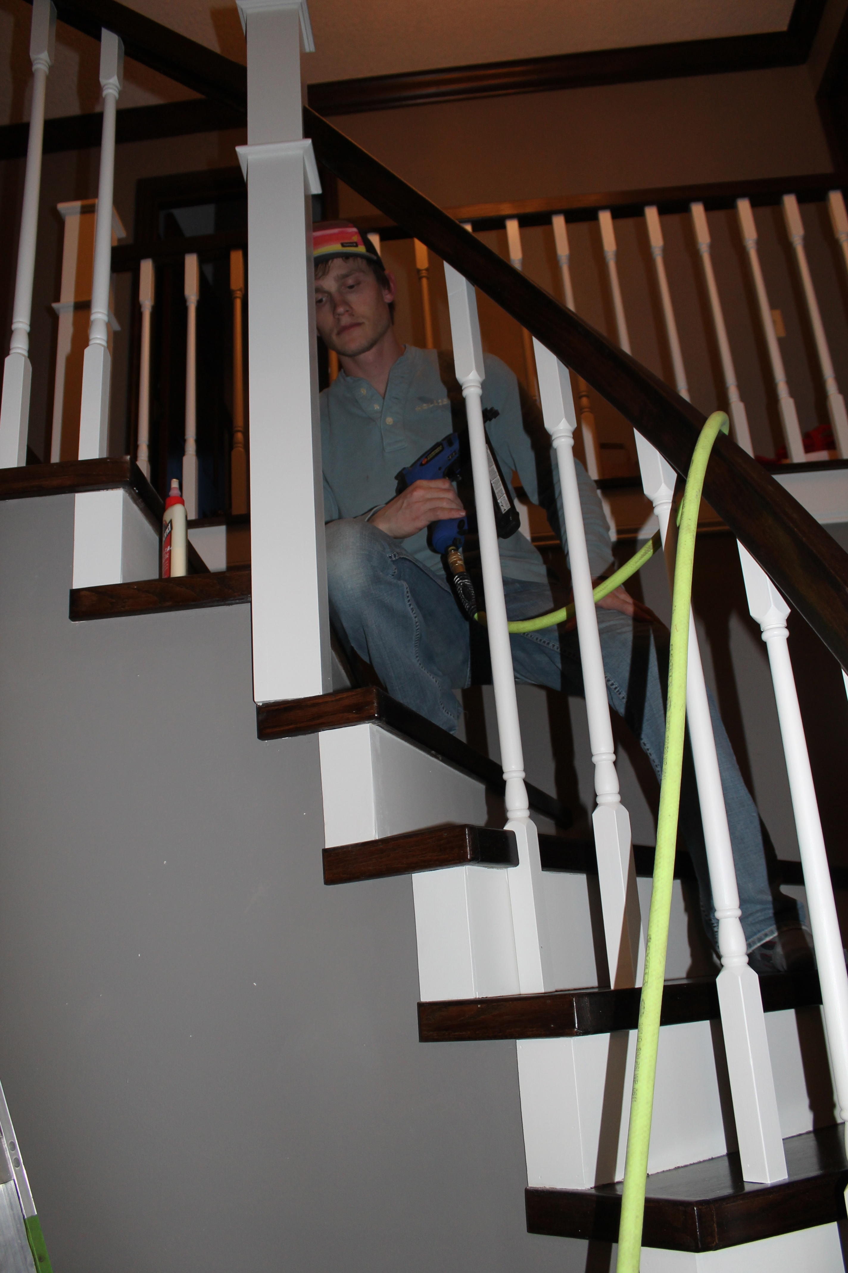 Curved Staircase Remodel With New Handrail Remodelaholic