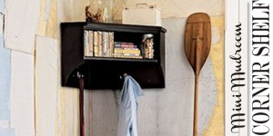 mini mudroom corner shelf