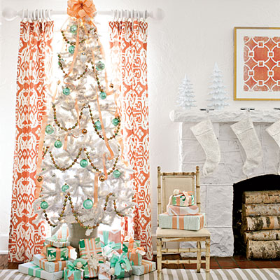 mint and peach christmas tree southern living via remodelaholic - Orange Coloured Christmas Tree Decorations