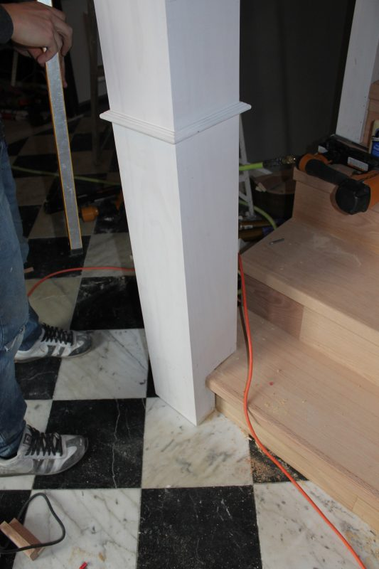 new stair railing newel post - Construction2Style via @Remodelaholic