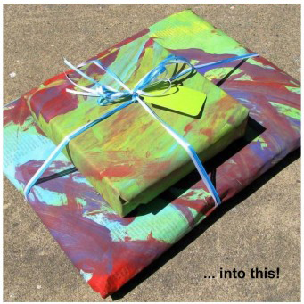 painted newsprint wrapping paper