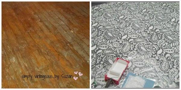 painted stenciled floor, Simply Vintageous via @Remodelaholic