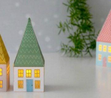 Printable Mini House Luminaries
