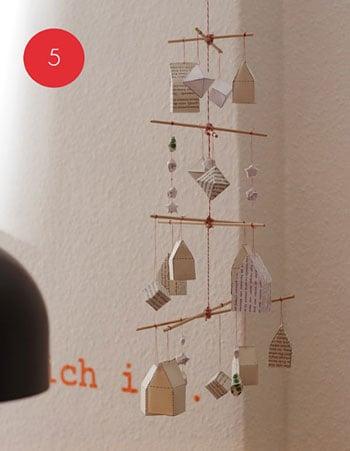 paper village hanging mobile, Brigitte via Remodelaholic
