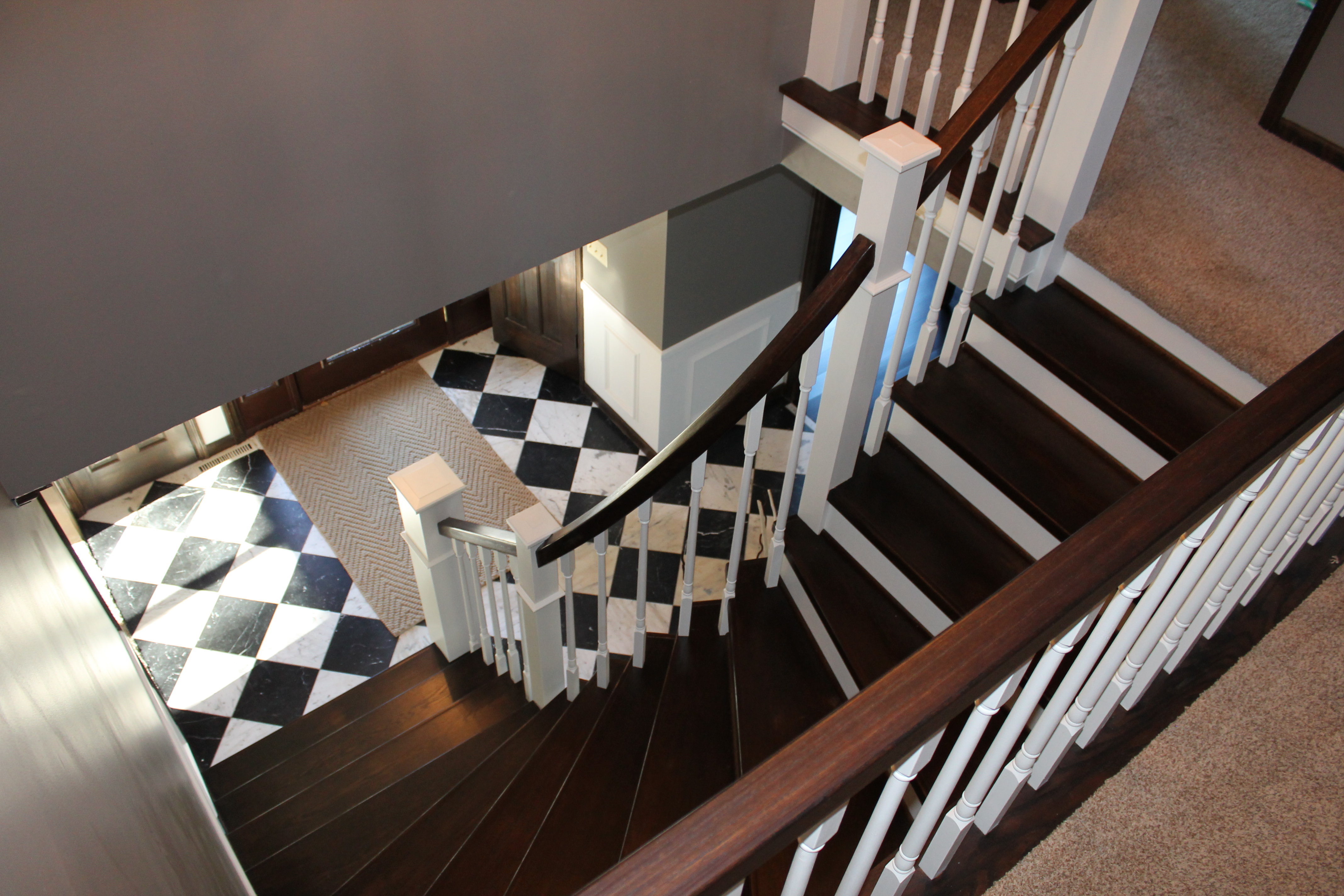 Remodel Curved Staircase From Carpet To Wood Construction2style Via Remodelaholic