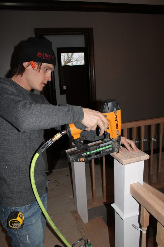 stair post endcap installation - Construction2Style via @Remodelaholic