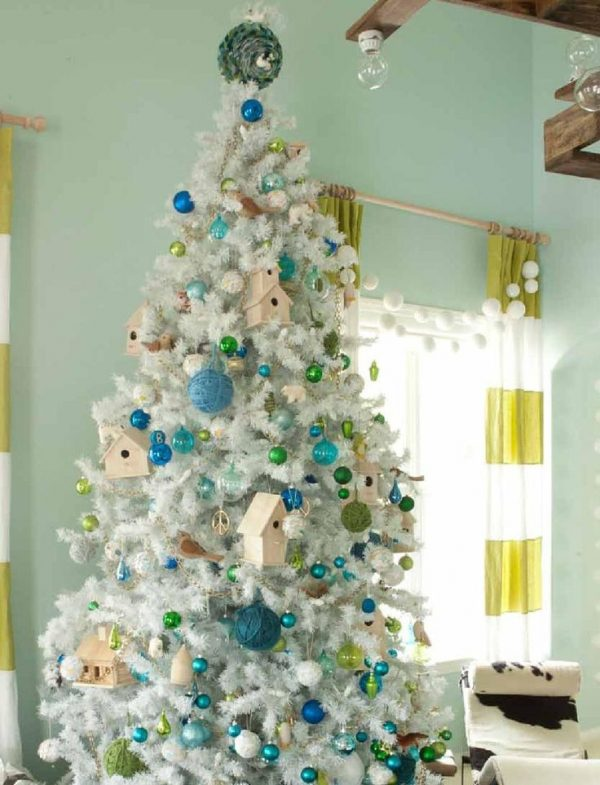 turquoise blue and green christmas tree - Emily Henderson via @Remodelaholic
