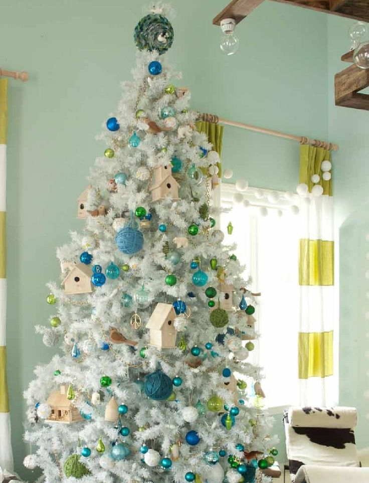 turquoise blue and green christmas tree emily henderson via remodelaholic - Peacock Blue Christmas Decorations