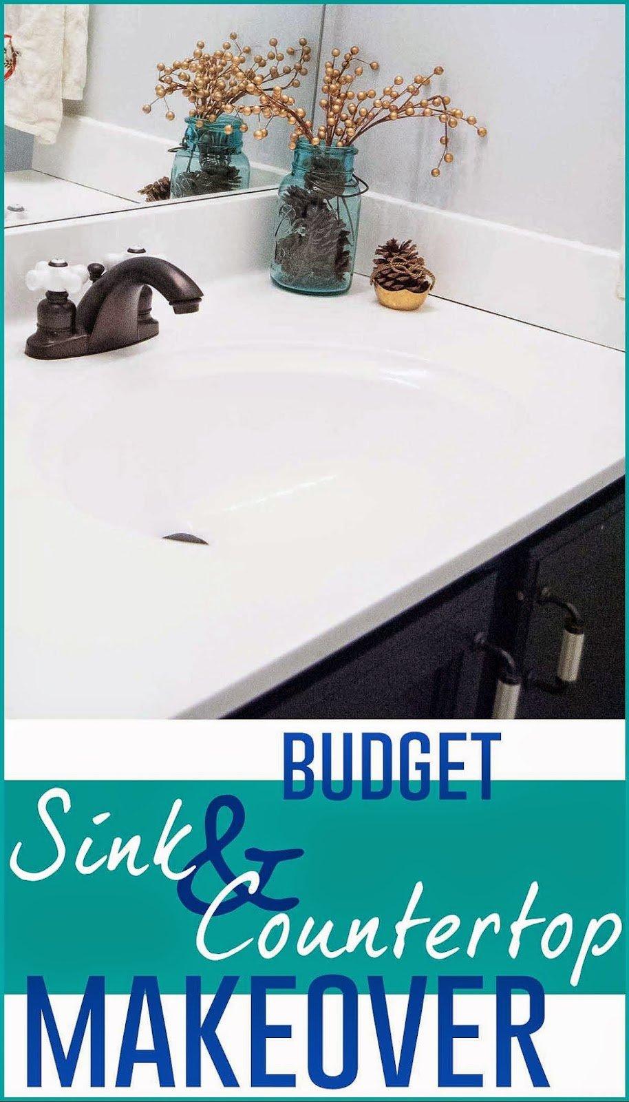 Painted Bathroom Countertops Remodelaholic Painted Bathroom Sink And Countertop Makeover