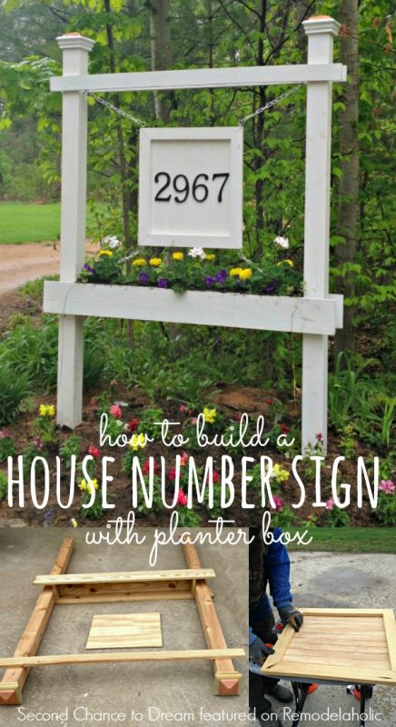 Build a House Number Sign with Planter Box - Second Chance to Dream featured on @Remodelaholic