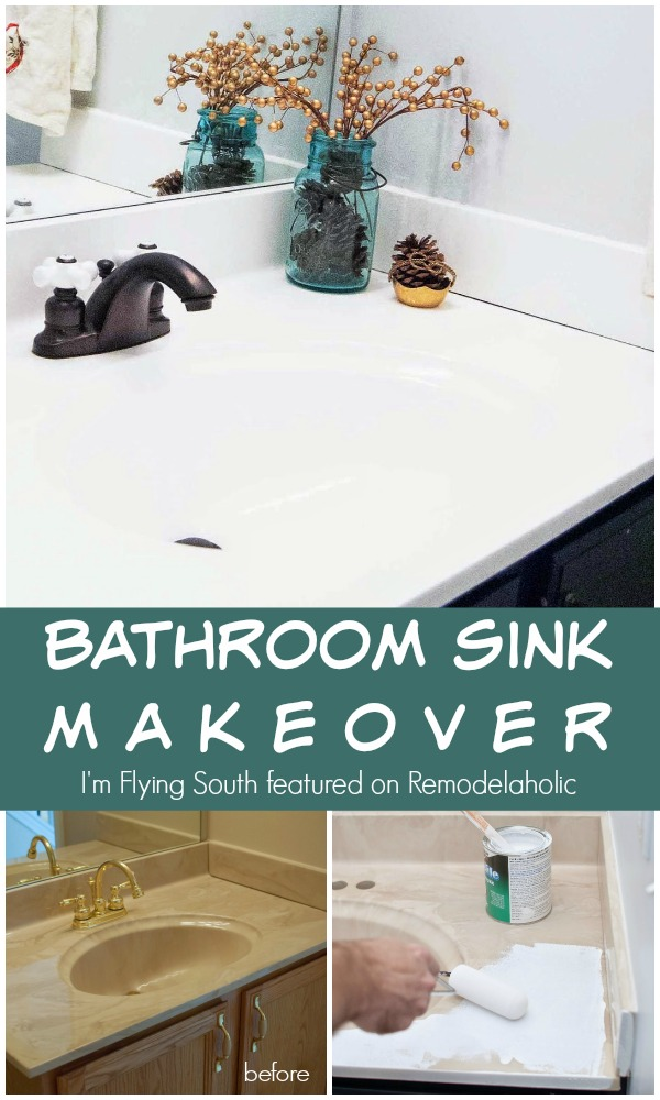 Exceptional Painted Bathroom Sink Makeover   Iu0027m Flying South Featured On  @Remodelaholic #diy