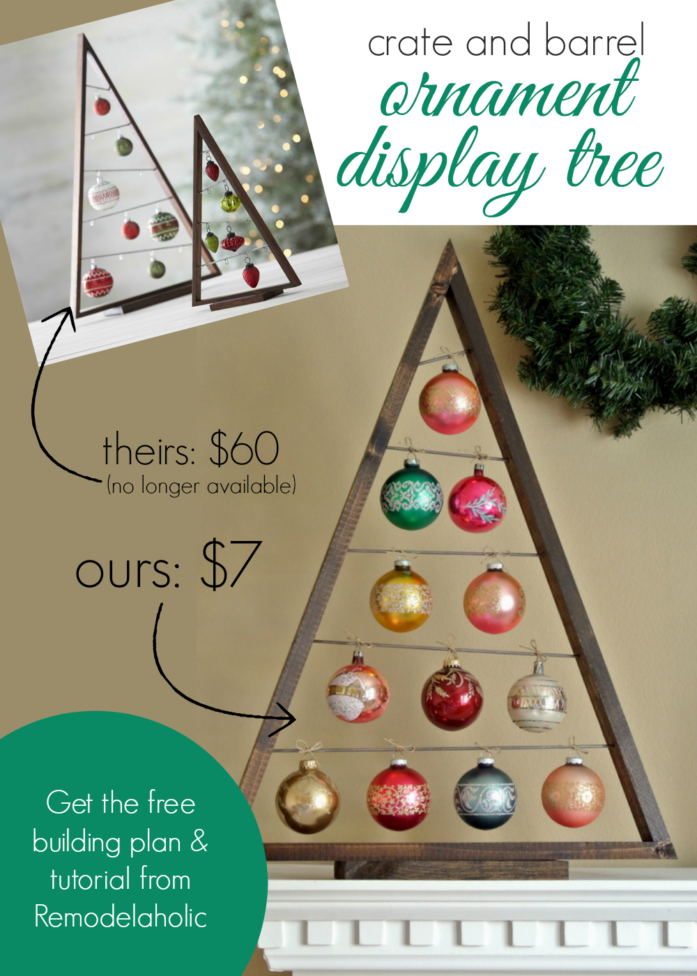 diy crate and barrel ornament display tree remodelaholic knockoff christmas - Crate And Barrel Christmas Decorations