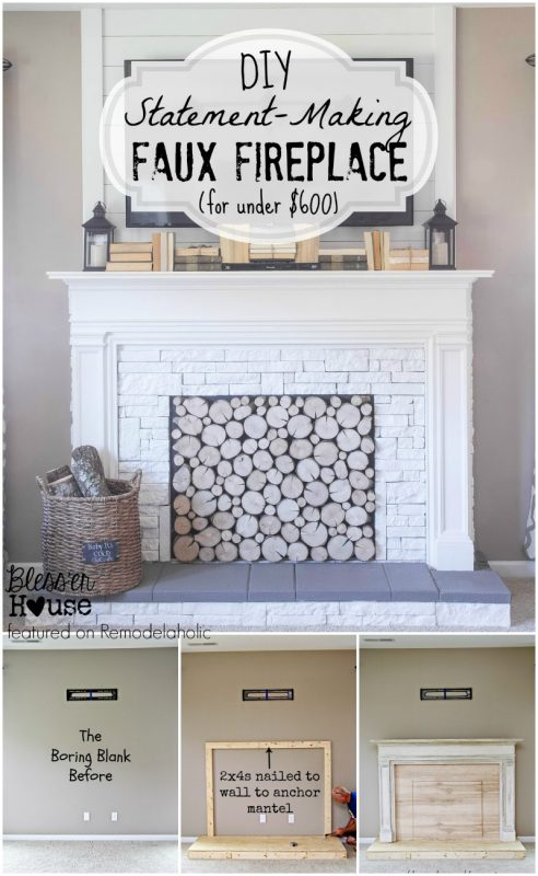 DIY Faux Fireplace - Blesser House featured on @Remodelaholic #buildit  #tutorial - Remodelaholic How To Build A Faux Fireplace And Mantel