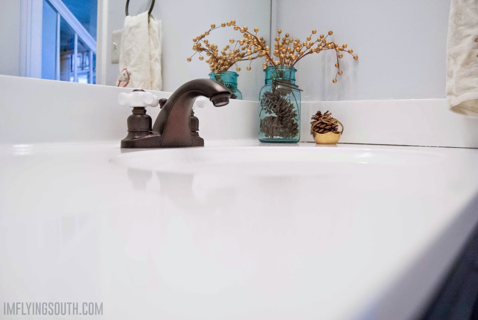 Painting A Porcelain Sink Remodelaholic Painted Bathroom Sink And Countertop Makeover