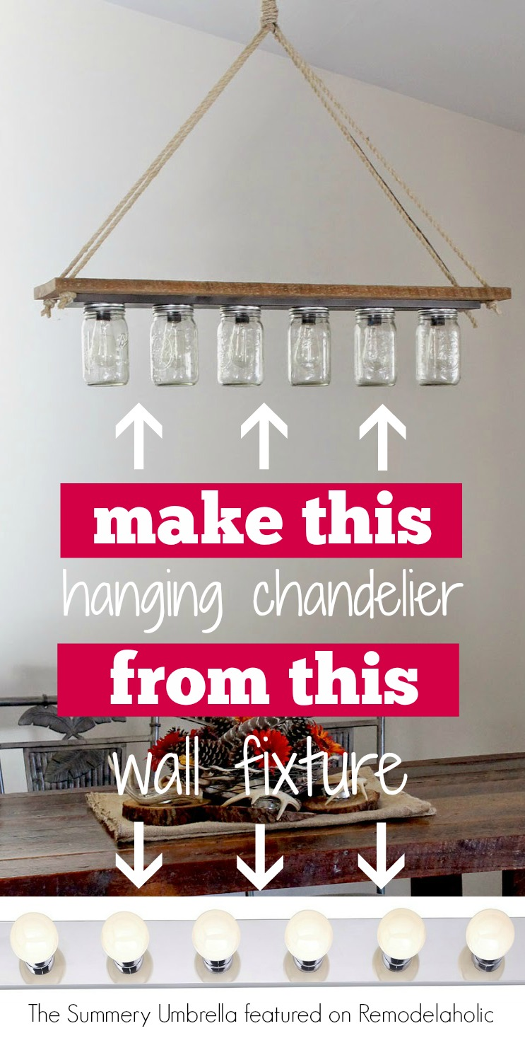 DIY chandelier from Hollywood style vanity light  The Summery Umbrella on Remodelaholic Upcycle a Vanity Light Strip to Hanging Pendant