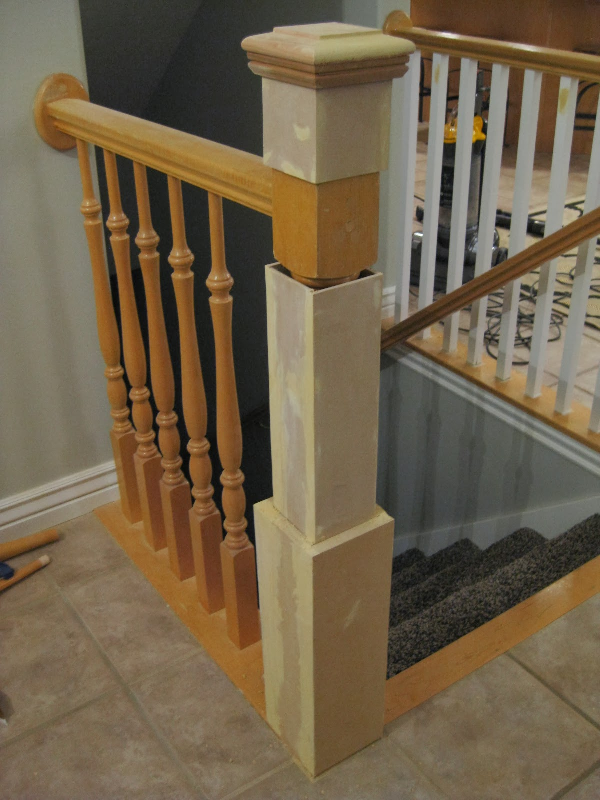 DIY Stair Newel Post Tutorial   TDA Decorating And Design Featured On  @Remodelaholic