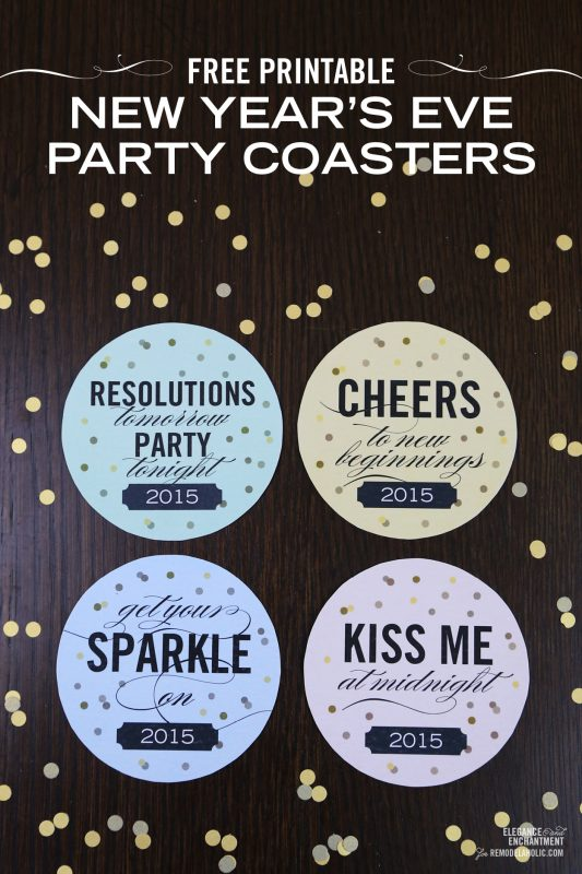 free printable new years eve party drink coasters