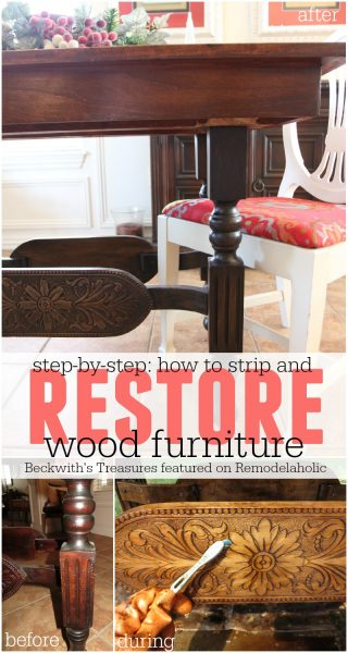 How to Strip and Restore Wood Furniture - Beckwith's Treasures featured on @Remodelaholic