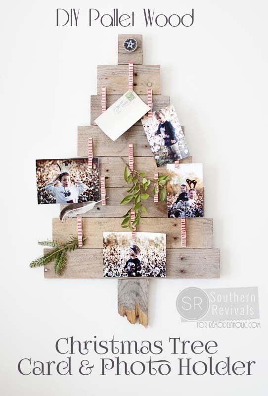 DIY Pallet Wood Christmas Tree Photo & Card Holder
