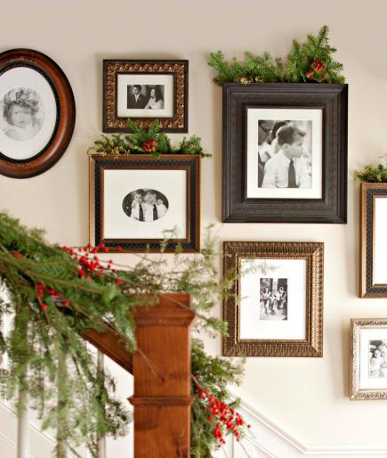 add holiday decor to a gallery wall of picture frames - Midwest Living via @Remodelaholic