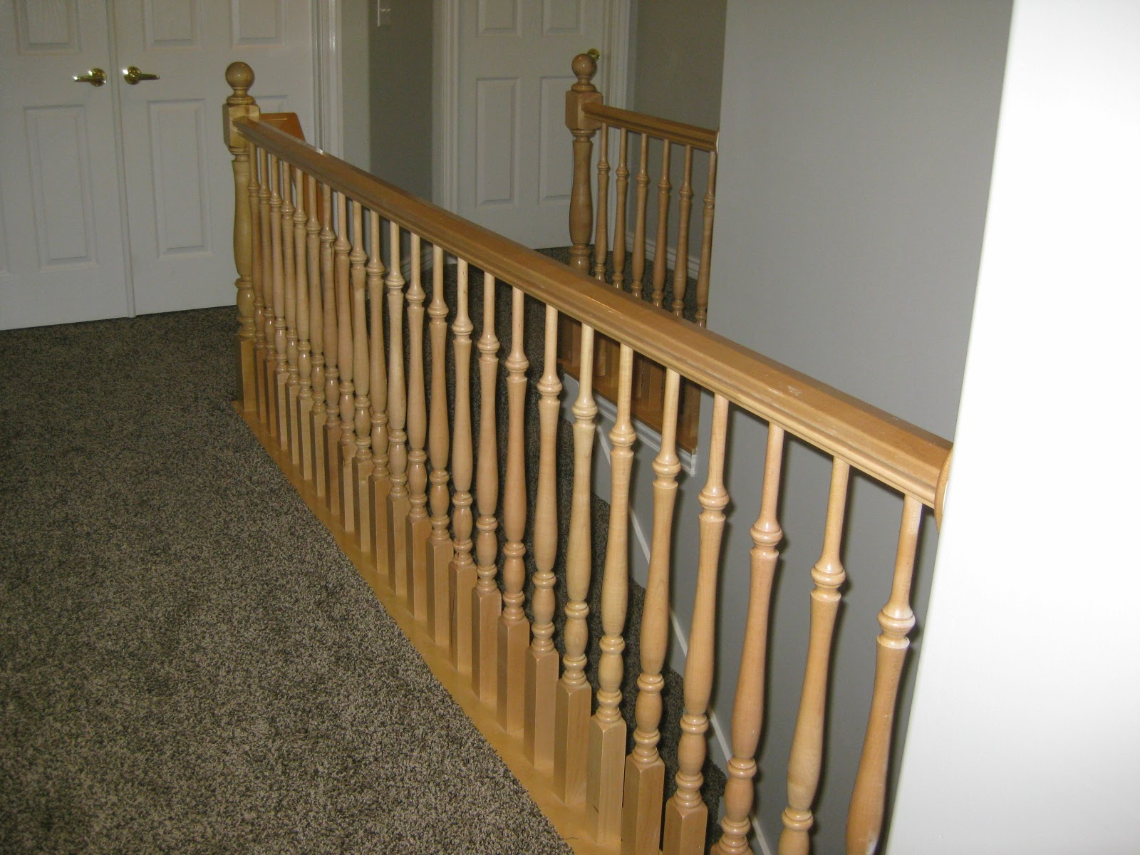 Banister Before   TDA Decorating And Design Featured On @Remodelaholic