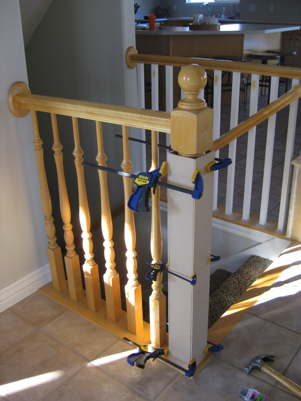 Building A New Newel Post   TDA Decorating And Design Featured On  @Remodelaholic