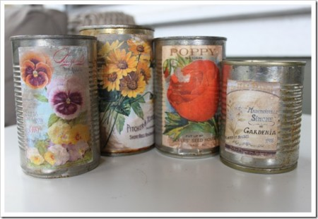 Tin Can upcycle using old calendars.