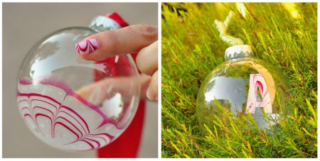Candy Cane Marble Painted Ornaments - Try these 35+ DIY ideas for clear glass ornaments to add precious memories and lots of spirit to your Christmas tree! from @tipsaholic #ornaments #diy #christmas