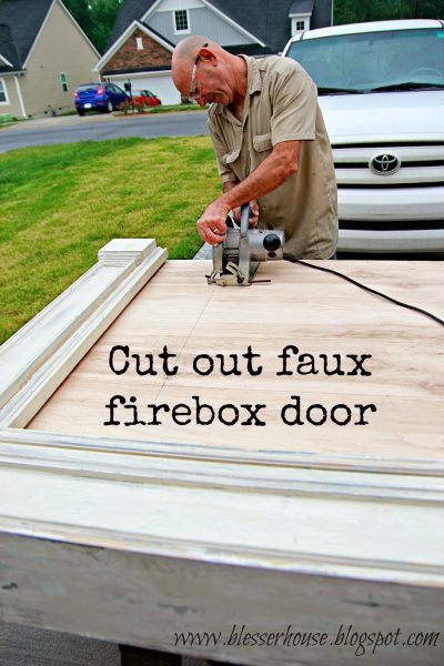 cut out a firebox door for a faux fireplace - Blesser House featured on @Remodelaholic