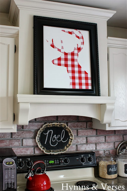 decorate above the stove for Christmas - Fox Hollow Cottage via @Remodelaholic