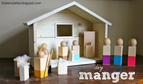 diy wood manger and nativity for kids - That's My Letter via @Remodelaholic