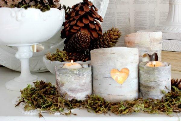 faux birch bark luminaries DIY - Craftberry Bush via @Remodelaholic