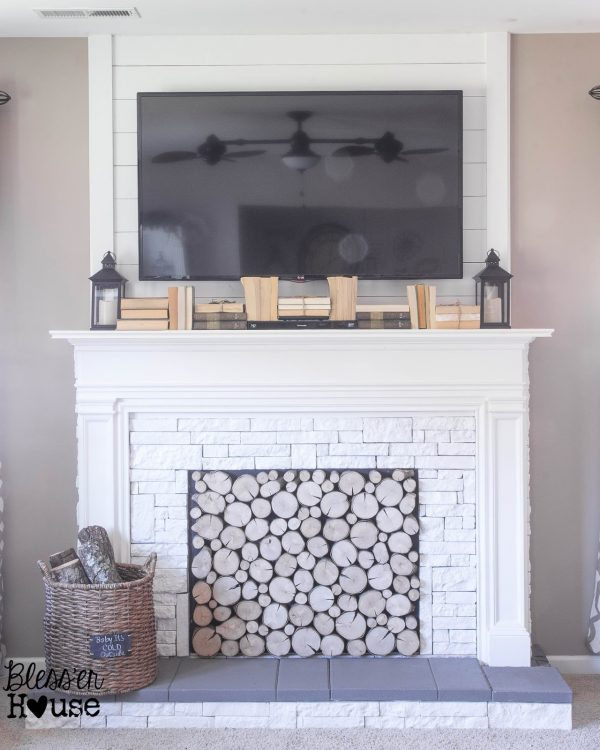 faux fireplace DIY tutorial - Blesser House featured on @Remodelaholic