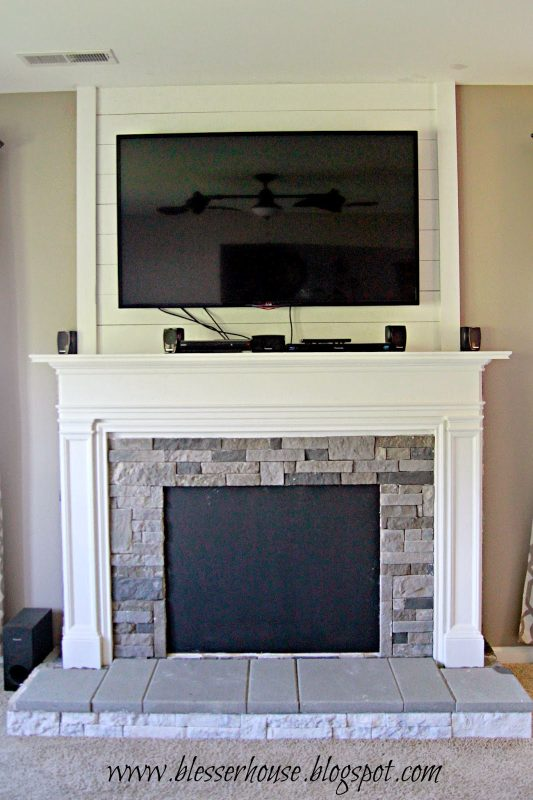 faux fireplace progress - Blesser House featured on @Remodelaholic - Remodelaholic How To Build A Faux Fireplace And Mantel