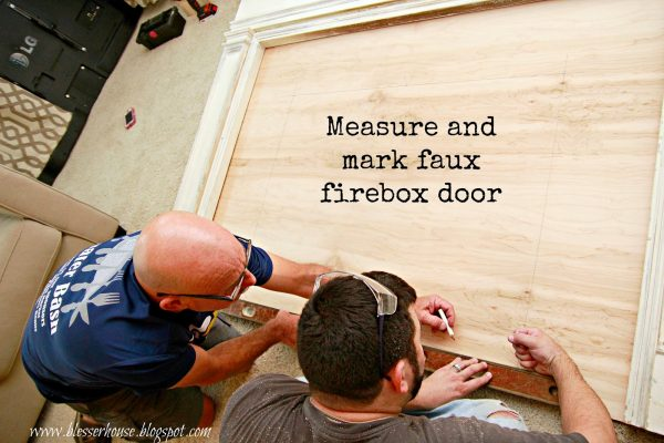 firebox door for diy faux fireplace - Blesser House featured on @Remodelaholic