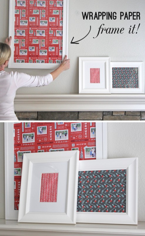 frame holiday wrapping paper - Thoughtfully Simple via @Remodelaholic