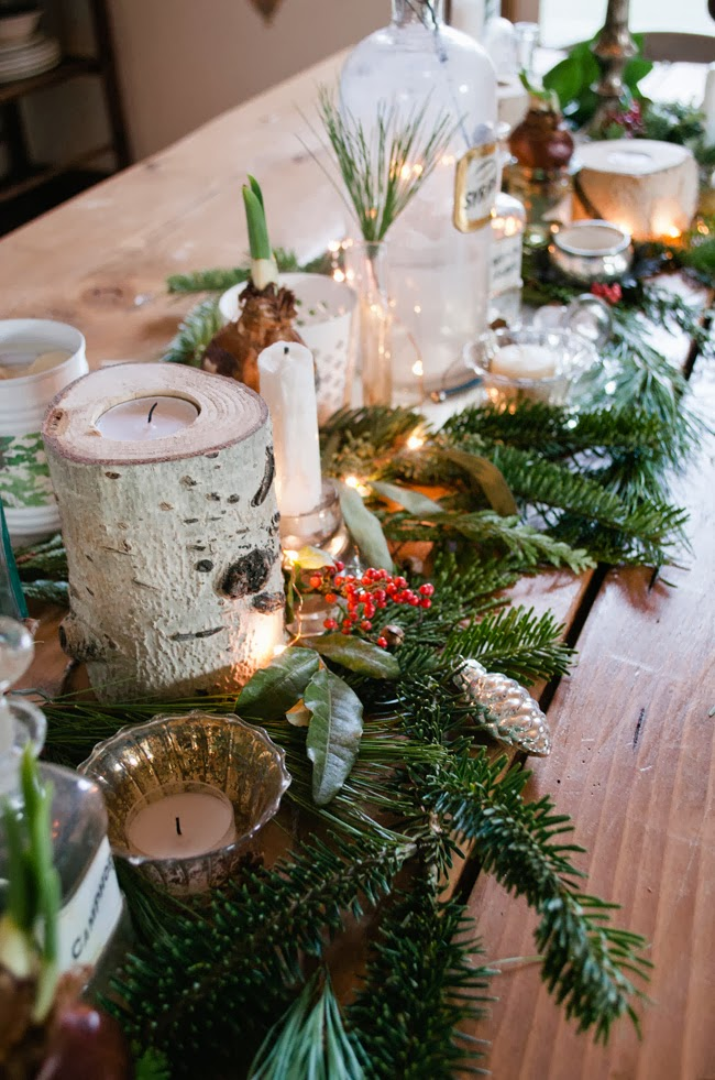 fresh greenery table runner vintage whites via remodelaholic - Fresh Christmas Greenery