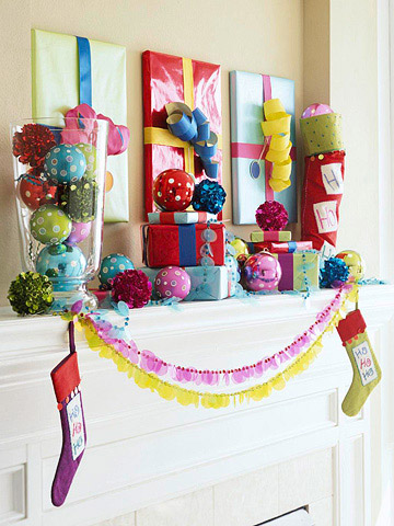 gift wrapped photo frames and mantel - BHG via @Remodelaholic