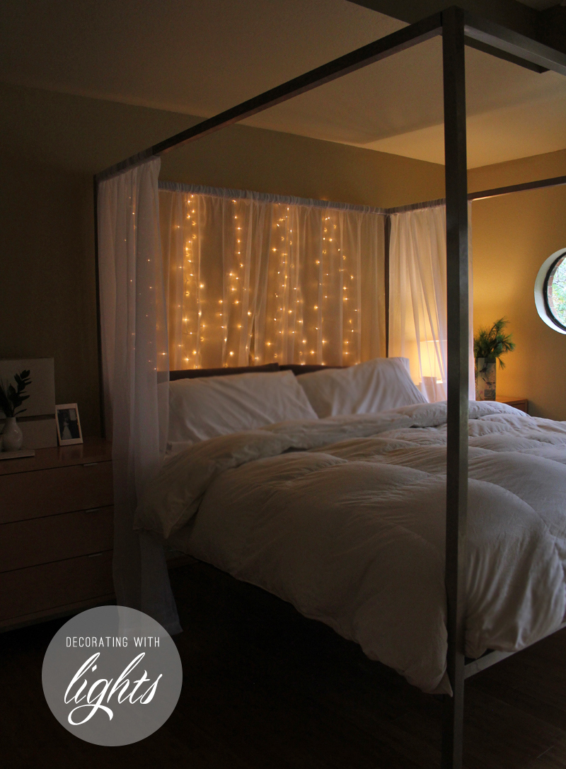 Holiday Bedroom Decorating Ideas Part - 26: Hang Christmas Lights Behind A Sheer Curtain For Holiday Headboard - Warm  Hot Chocolate Via ...