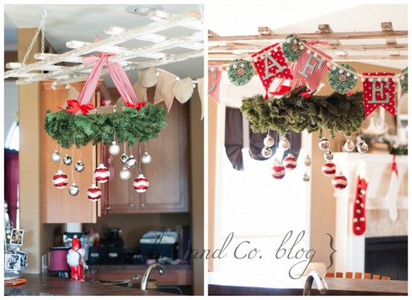 hang wreath banner and ornaments from pot rack in kitchen - J and A and Co via @Remodelaholic