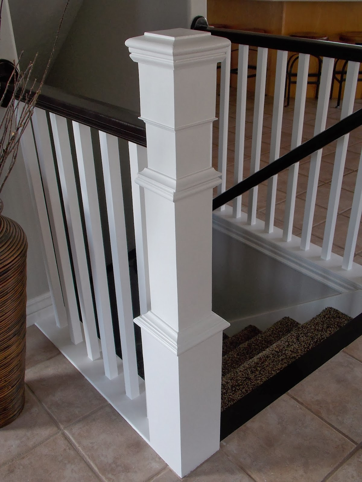 Remodelaholic stair banister renovation using existing for Interior post designs