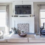 living room with DIY faux fireplace - Blesser House featured on @Remodelaholic